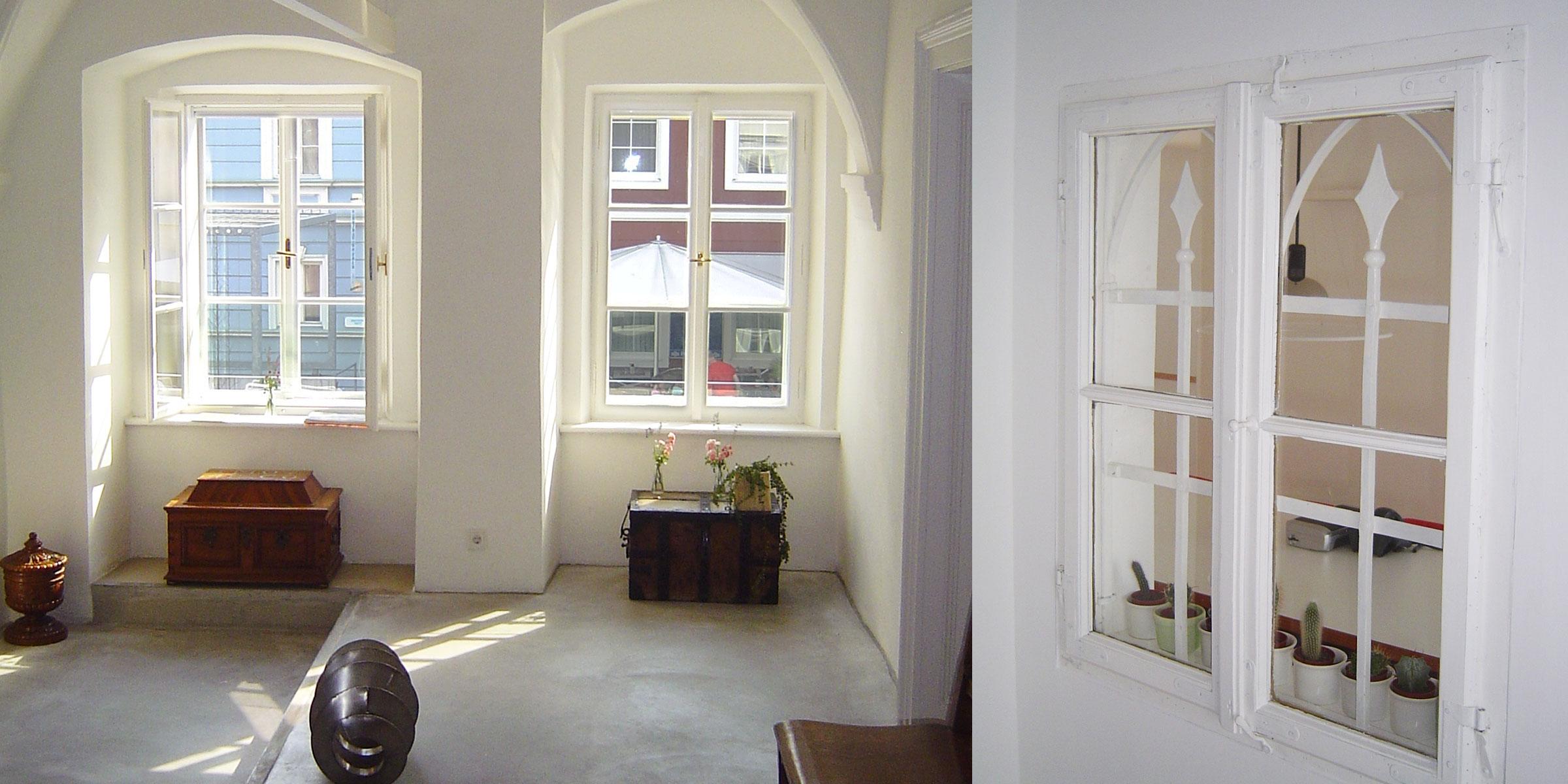 weiße Kastenfenster, restaurierte, renovierte, rekonstruierte Fenster vom Gemeindeamt Ottensheim Tischler Hans Hummer Feldkirchen an der Donau