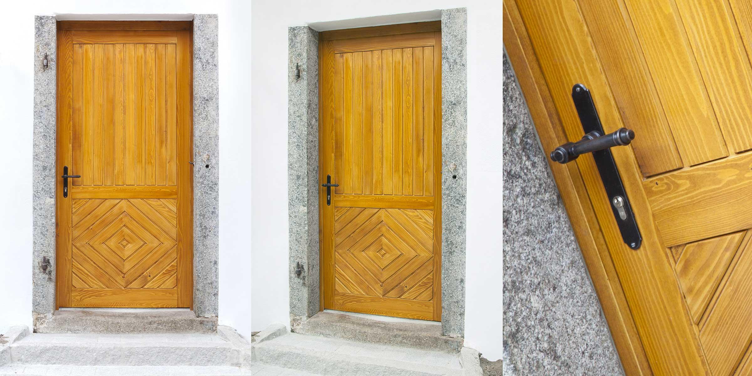 renovierte-eingangstuer_tischlerei-hummer-feldkirchen-hoftür-in-Steingericht-Fichte-lassiert Tischler Hans Hummer Feldkirchen an der Donau